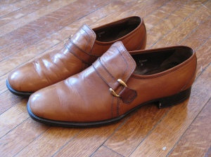 Vintage Carmel Brown Leather Monks by Crocket & Jones Shoes - Size 9D