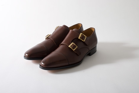 Double Buckle Monks in Leather by English shoemaker Tim Little