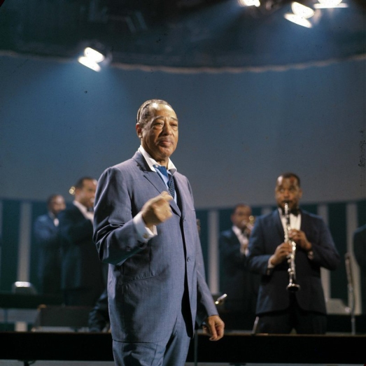 Duke Ellington Swinging a Charcoal Blue Suit