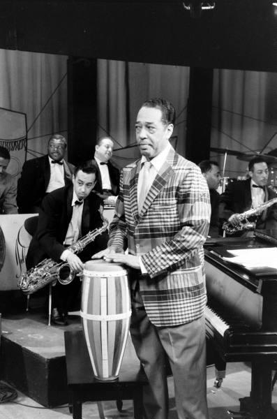 Duke Ellington in Large Check Sports Coat with Conga Accessory