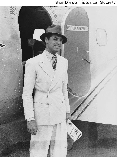 Cary Grant Traveling in a Double-breasted Linen Suit