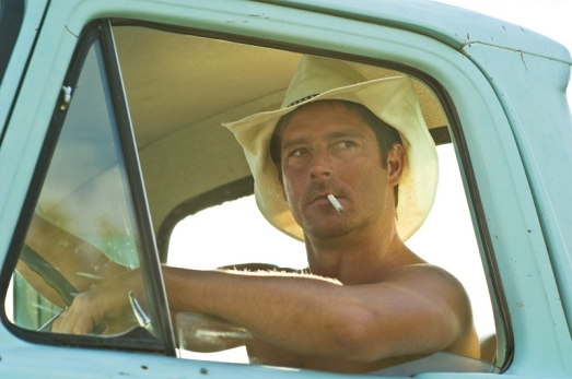 Fantasy Shirtless Man in a Truck Smoking a Cigarette