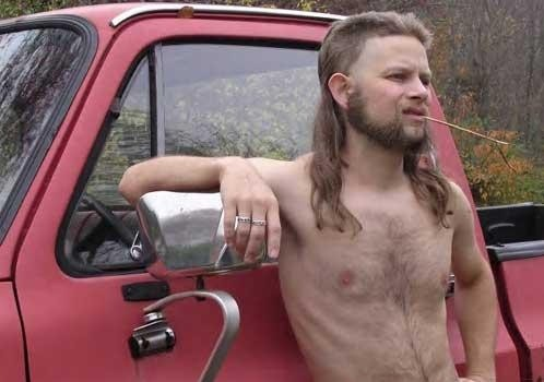 Real Shirtless Man in a Truck