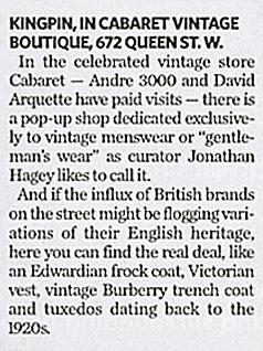Kingpin's Hideaway Makes the Toronto Star