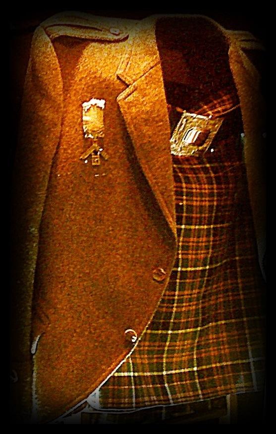 Tweed jacket with wool Kilt and Masonic Jewels