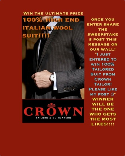 Win 100% tailored suit from Crown Tailor