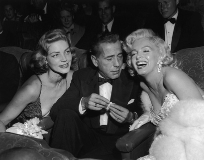 Lauren Bacall, Marilyn Monroe and Humphrey Bogart in a Tuxedo