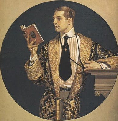 Gentleman in Smoking Jacket Reading