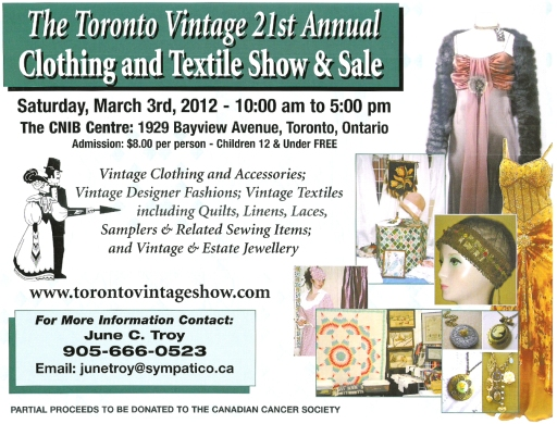 Toronto Vintage Clothing and Texile Show & Sale