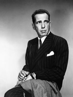 Humphrey Bogart styles a formal portrait with a pocket square