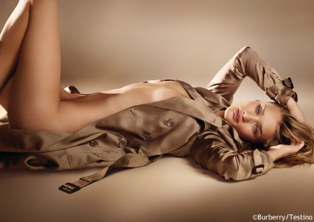 Rosie Huntington-Whiteley Nude Except for Her Burberry Trench Coat