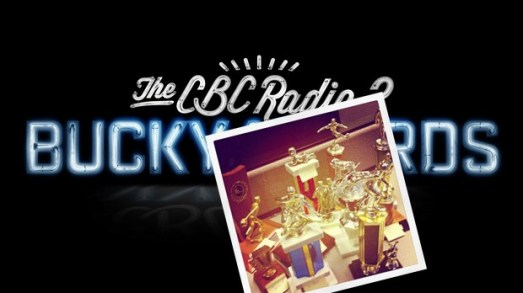 The real, live CBC Radio 3 2012 Bucky Awards - vintage trophies provided through the generous support of Kingpin's Hideaway.
