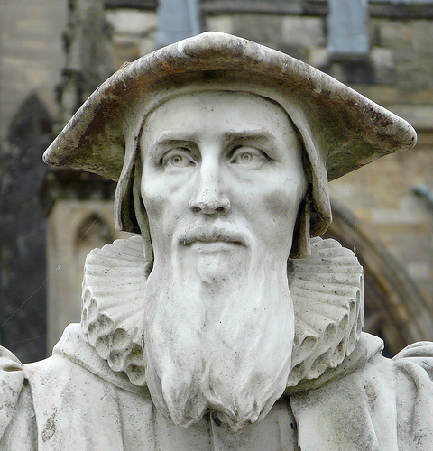 Richard Hooker wearing the Canterbury cap of British Clergy